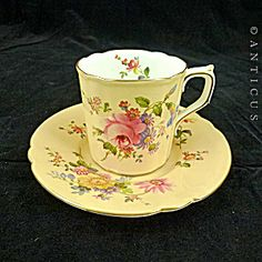 Royal Crown Derby Coffee Cup And Saucer, Peach Posies.
