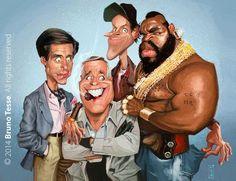 "The cast of the ""A-Team"" Cartoon People, Cartoon Faces, Funny Faces, Cartoon Art, Caricature Artist, Caricature Drawing, Funny Caricatures, Celebrity Caricatures, Famous Cartoons"