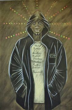 """This is my tribute to Trayvon Martin it is entitled """"I Am"""" prints are available for $30, $90 &$150 Pay Pal account available. Contact artist at newsoul4sunshine@yahoo.com or Lloyd G Wade on Facebook."""