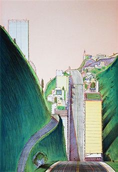 Wayne Thiebaud Park Place, 1995 Color hard ground etching with drypoint, spit bite aquatint and aquatint Wayne Thiebaud, Klimt, Bay Area Figurative Movement, James Rosenquist, Pop Art, Bonnard, Mondrian Art, Psychedelic Drawings, Jasper Johns