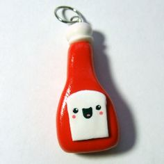 HAPPY KETCHUP Pendant Charm  Ready to Ship  by TheHappyAcorn, $20.00