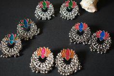 Lotus Earrings ❤ Thread Jewellery, Silver Jewellery, Indian Jewelry, Silver Rings, Ear Rings, Silk Thread, Cute Earrings, Blouse Designs, Wedding Jewelry