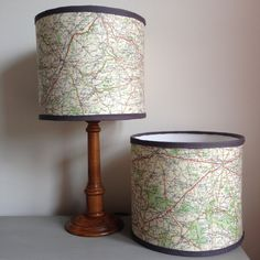 Handmade Drum Lampshade, Vintage French Michelin Map, 20 cm
