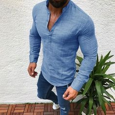 add0a1d684c7 Men s Slim Fit V Neck Long Sleeve Muscle Tee T-shirt Casual Tops Henley  Shirts
