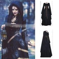 Long Princess Black Halloween Costume For Women Cosplay Scary Witch Victorian Dr. : Long Princess Black Halloween Costume For Women Cosplay Scary Witch Victorian Dr. Halloween Party Kostüm, Black Halloween Costumes, Halloween Fancy Dress, Gothic Halloween, Ebay Halloween, Vintage Halloween, Halloween 2019, Mode Vintage, Style Vintage