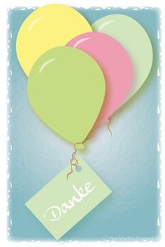 free printable download - Postkarte Luftballons mit Danke Karte                                                                                                                                                      Mehr