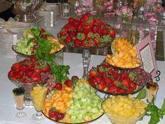 Table Display Ideas metallic and blush dessert table display Assorted Fresh Fruit Trays