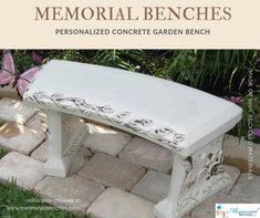 Concrete Benches are painted and hand rubbed to provide an antique and charming look for years to come. Buy Personalized Concrete Garden Bench  #memorialbenches #bench #green #sky #park #art #design #seating #usa #likeformore