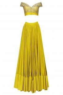 Olive Green Off Shoulder Embellished Lehenga Set #mahimamahajan #ethnic #festiveseason #shopnow #ppus #happyshopping