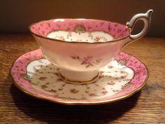 Coalport Tea Cup Saucer Pink with Gold Scroll Rose Buds Ryrie Bros