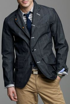 dark wash denim coat, striped shirt & tie, khakis