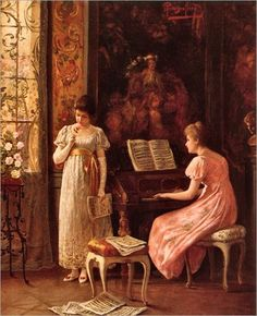 """The rehearsal. Alois Heinrich Priechenfried (Austrian, Oil on canvas.""""After silence, that which comes nearest to expressing the inexpressible is music."""" & Aldous Huxley English Author (from """"Music at Night"""", Arte Do Piano, Piano Art, Milan Kundera, Victorian Valentines, Lightning Strikes, Woman Painting, Old Art, Art Music, Musical"""