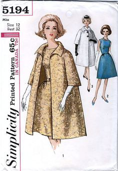 Simplicity 5194 Vintage 60s Misses' One-Piece Dress and Coat Sewing Pattern - Uncut - Size 12 - Bust 32. $8.00, via Etsy.