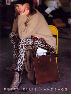 Perry Ellis Handbags ad 1992 feat Christy Turlington