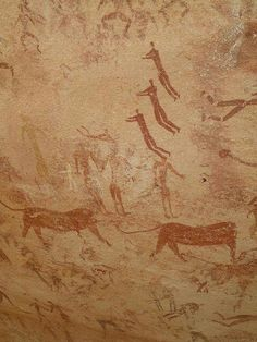 The Cave of the Swimmers, Egypt. figures are about the size of a human hand. The cave and rock art was discovered in 1933 by László Almásy. The Neolithic rock paintings of people swimming, estimated to have been made 10,000 years ago during the most recent Ice Age.