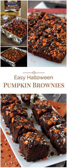 Ces amusants, sucrés, rapides et faciles, les Brownies à la citrouille d'Halloween commencent par un mélange de brownies, alors ils se rassemblent en un éclair.