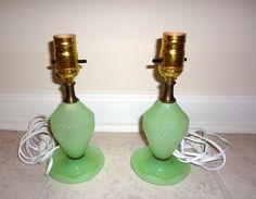RARE VINTAGE JADEITE GLASS HOBNAIL SET OF LAMPS WORKS! JADE JADITE GLASS