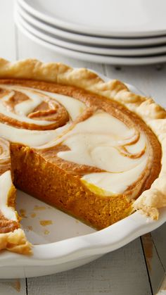 Take your pumpkin pie to the next level with a cream cheese swirl that tastes as good as it looks! If you've never made your own pumpkin pie, this recipe is the perfect place to start. Cinnamon, nutmeg, cloves and ginger give the pumpkin filling just the Pumpkin Recipes, Pie Recipes, Fall Recipes, Baking Recipes, Holiday Recipes, Pumpkin Cheesecake Recipes, Cream Cheese Pie, Cheese Pies, Pumpkin Cream Cheeses