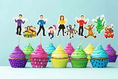 Wiggles Cupcake Cake Topper Picks, The Wiggles, Wiggles Birthday, Wiggles Party, Wiggles Birthday, Wiggles Party, Wiggles Cake, The Wiggles, Birthday Party Themes, 2nd Birthday, Birthday Ideas, Cupcake Picks, Cupcake Cakes