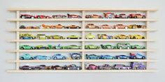 The Mom! Where's my car? wall garage is a Hot Wheels® & Matchbox® storage system designed to put the brakes on toy car clutter in your home Kids Storage, Wall Storage, Bedroom Storage, Storage Ideas, Lego Storage, Wall Racks, Storage Solutions, Lego Display Case, Display Cases