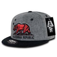 California Republic State Bear Flag Wool Snapback Hat Ash Red