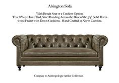 The Abington Sofa by Casco Bay Furniture - Tufted Sofa, Chesterfield Chair, Leather Furniture, Leather Sofa, Casco Bay, Love Seat, Accent Chairs, Hardwood, Cushions