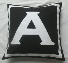 Letter A monogrammed pillow cover - 20 inches  black and white  IN STOCK. $28.99, via Etsy.