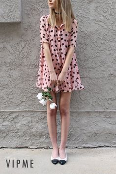 Cute Pink Silk Polka Dot A Line Half Sleeve Mini Dress Modelled by Mia Maguire, From Los Angeles, CA. Fashion Elements Such As Silk, Polka and A Lines are Designed in One Cute Mini Dress. Follow Mia's Style and Visit VIPme.com NOW!