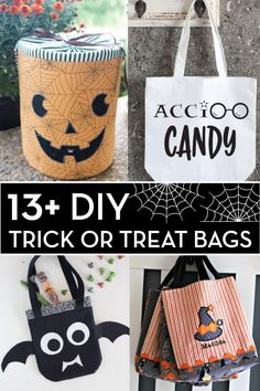 More than 13 Cute Trick or Treat bags to make. Lots of fun last minute DIY trick or treat bag ideas. Halloween Sewing, Fun Halloween Crafts, Halloween Quilts, Halloween Trick Or Treat, Diy Halloween Decorations, Halloween Ideas, Halloween Stuff, Fall Crafts, Halloween Party