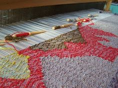 Rilla Marshall - handweaving shoreline. Inlaid Tapestry technique on a floor loom.
