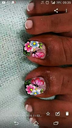 Decuracin Hot Nails, Swag Nails, Hair And Nails, Pedicure Designs, Toe Nail Designs, Toe Nail Art, Easy Nail Art, Flower Toe Nails, Pretty Toe Nails