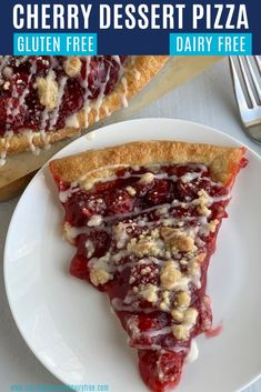 This Cherry Dessert Pizza is a slice of heaven-- a cherry topping bursting with robust cherry flavor along side a buttery streusel topping & sweet drizzle. Gluten Free Pizza, Gluten Free Baking, Gluten Free Desserts, Dairy Free Recipes, Easy Desserts, Vegan Pizza, Rhubarb Desserts, Strawberry Desserts, Strawberry Pizza