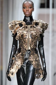what a combo: fashionable metallic butterfly knight armor & latex protection ; ) (by Cayatena Designs)