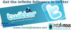 To increase your followers in twitterand gain unlimited followers. Visit: http://www.instafamous.net/index.php?route=product/category=69_59