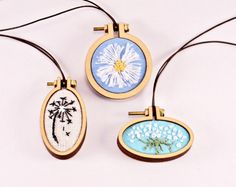 Wildflower Necklace - Daisy Necklace - Dandelion Necklace - Queen Annes Lace - Hoop Art - Mini Embroidery Hoop Jewelry - Wild Flower Jewelry