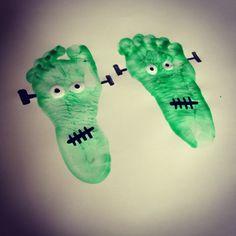 Frankenstein Feet! #toddler #halloween #craft