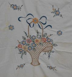 Vintage Hand Embroidered Table Cover with Flower Basket Embroidery Designs, Embroidery Flowers Pattern, Embroidery Transfers, Vintage Embroidery, Ribbon Embroidery, Cross Stitch Embroidery, Machine Embroidery, Doll Sewing Patterns, Simplicity Sewing Patterns
