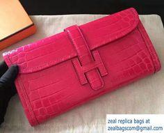 Hermes Jige Elan 29 Clutch Bag in Croco Pattern Leather Fuchsia