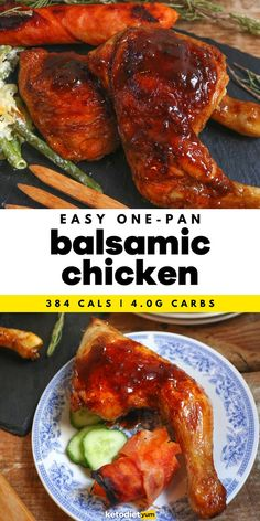 EASY One-Pan Balsamic Chicken Recipe - Our easy balsamic chicken is made with golden chicken thighs simmered to perfection in a savory and sweet balsamic glaze. Everything comes together in a single pan for easy cleanup. Balsamic Chicken Recipes, Balsamic Vinegar Chicken, Bacon Recipes, Lunch Recipes, Cooking Recipes, Healthy Low Carb Dinners, Healthy Eating, Free Keto Meal Plan, Weekend Meal Prep