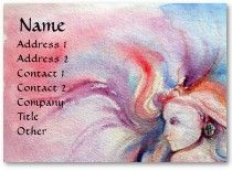AVALON ,Fantasy Pink Blue Business Cards  Watercolor painting 1988 by Alessandro Lumini .
