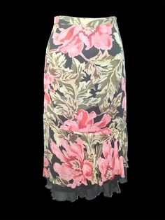 APRIL CORNELL - Pink, Green & Black Floral Skirt w/Black Ruffle - Size M https://seethis.co/zmYlL/