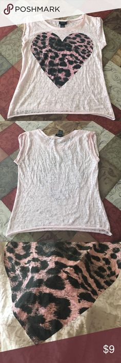 ADORABLE sheer top  Worn only once! Sheer print with a cheetah-print heart. Could almost be considered a crop top because it's a short shirt. It really depends on how tall you are. Open for negotiation! ❤️ Thanks for looking  Rue 21 Tops Crop Tops