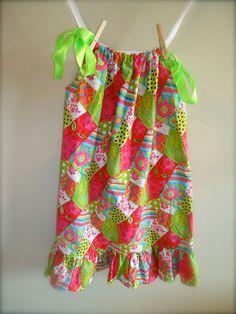 Ruffle bottom Girls Pillowcase Dress