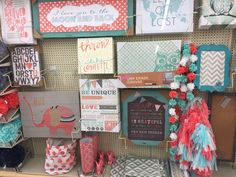 Teal and coral decor at Hobby Lobby
