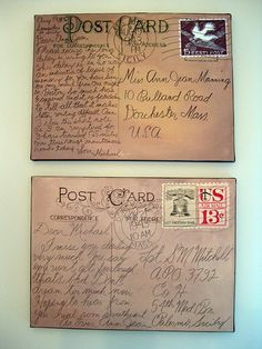 My finished painted postcards of love letters from World War II.