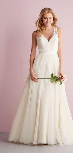 Chapel Train Natural Waist Button Back V-neck A-line Wedding Dress