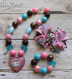 Sheriff Callie Set, chunky necklace, bracelet, bow, birthday, sheriff callie, pink/brown/blue