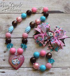 Sheriff Callie Set, chunky necklace, bracelet, bow, birthday, sheriff callie, pink/brown/blue