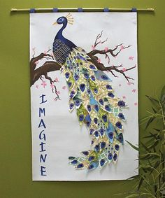 Oriental Peacock on Cherry Tree Wall Hanging -- Globalize your décor with an oriental wall hanging.  #decoartprojects