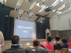 """Lead WordPress Developer talking about his Project """"PFUI"""" - reserved laughter by all german-speaking peeps in the audience ;)"""